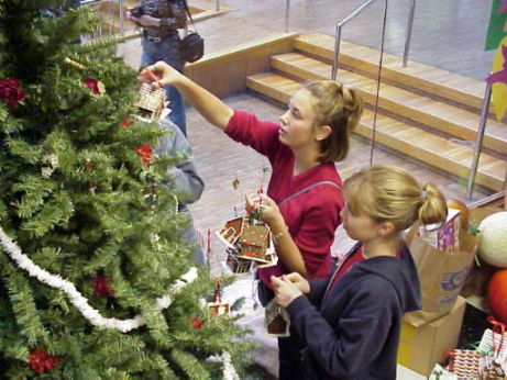 Students hanging ornaments