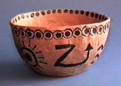 bowl with pictographs