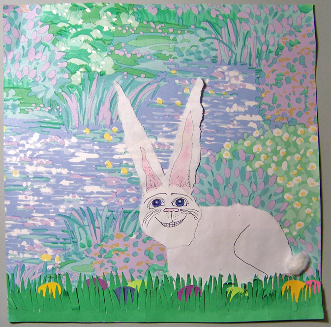 Click to enlarge the torn paper bunny